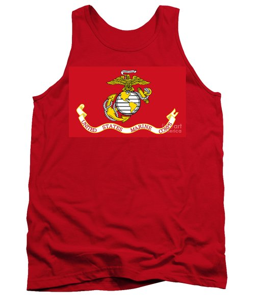 Tank Top featuring the painting Flag Of The United States Marine Corps by Pg Reproductions