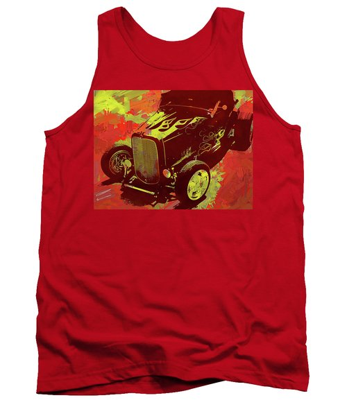 Flamed 1932 Ford Roadster Hot Rod Pop Red Tank Top