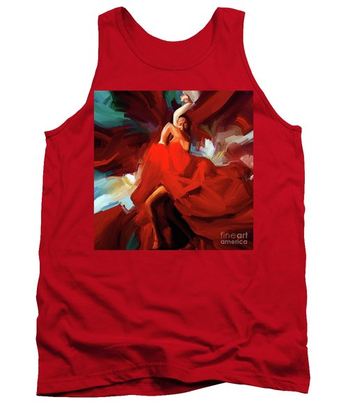Tank Top featuring the painting Flamenco Dance 7750 by Gull G