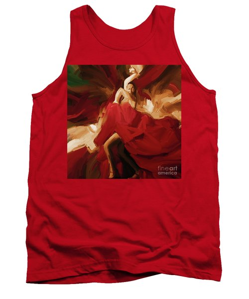 Tank Top featuring the painting Flamenco Spanish Dance Painting 01 by Gull G