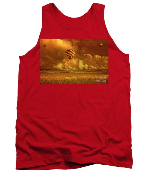 Tank Top featuring the photograph Flaming Sky by Charuhas Images
