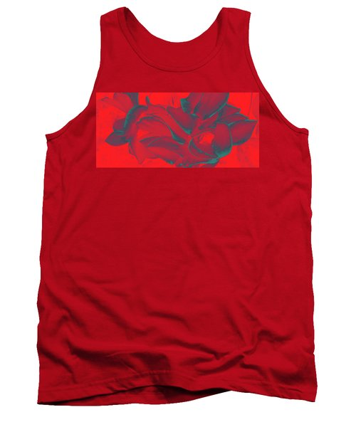 Floral Abstract In Dramatic Red Tank Top