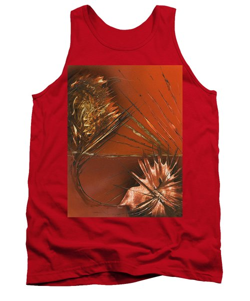 Flower Abstract In Orange And Brown Tank Top
