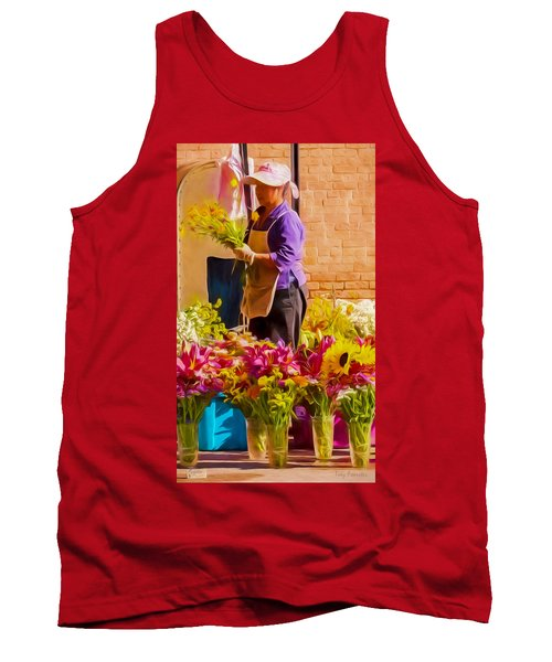 Tank Top featuring the photograph Flower Lady by Trey Foerster