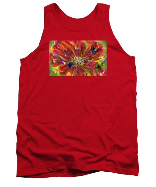 Tank Top featuring the digital art Flowers And Butterflies by Darren Cannell