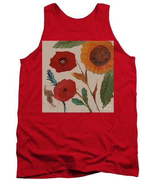 Tank Top featuring the painting Flowers Blowing In The Wind by Robin Maria Pedrero