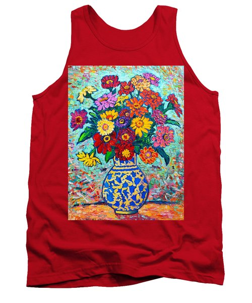 Flowers - Colorful Zinnias Bouquet Tank Top