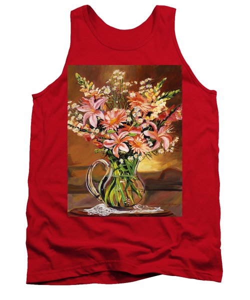 Flowers In Glass Tank Top