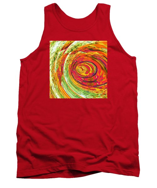 Tank Top featuring the digital art Fluorescent Wormhole by Shawna Rowe