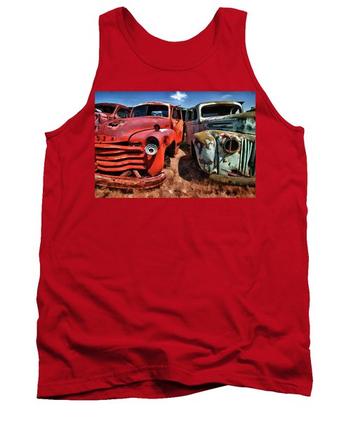 Ford And Chevy Standoff Tank Top by Jeffrey Jensen