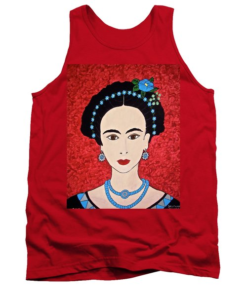 Frida With Blue Flowers Tank Top by Stephanie Moore