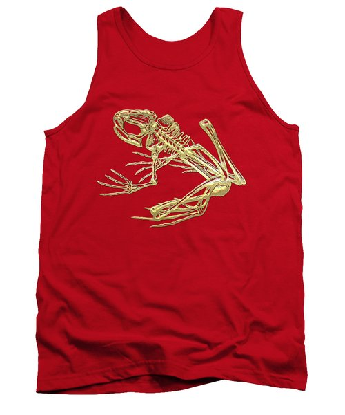Frog Skeleton In Gold On Red  Tank Top
