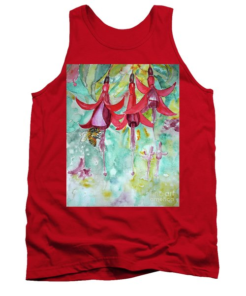 Tank Top featuring the painting  Fuchsia by Jasna Dragun