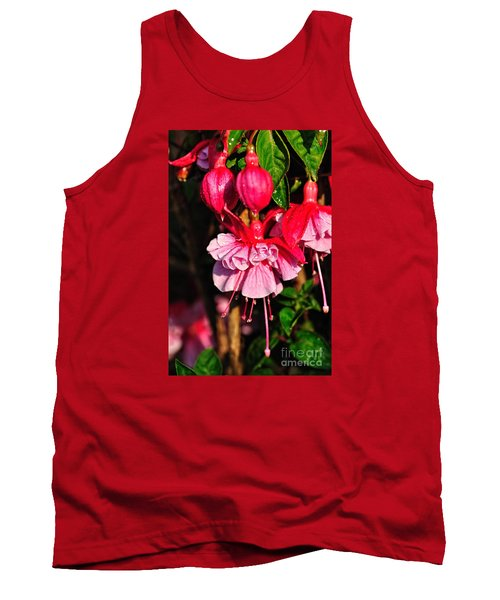 Fuchsias With Droplets Tank Top