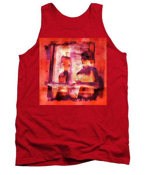 Funky Abstract Square Welcome Couple Red Pink Purple Lake City 1a Tank Top