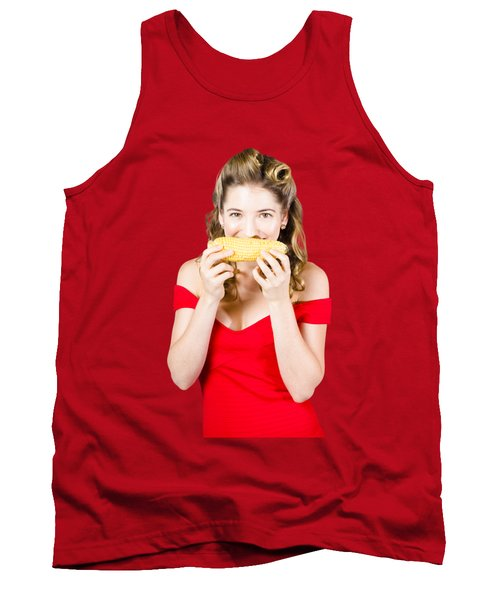 Funny Vegetable Woman With Corn Cob Smile Tank Top