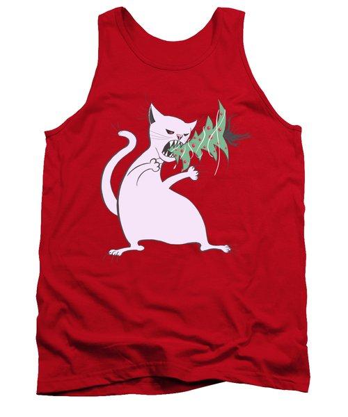 Funny White Cat Eats Christmas Tree Tank Top