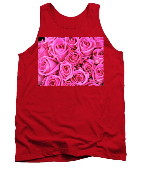 Fuschia Colored Roses Tank Top