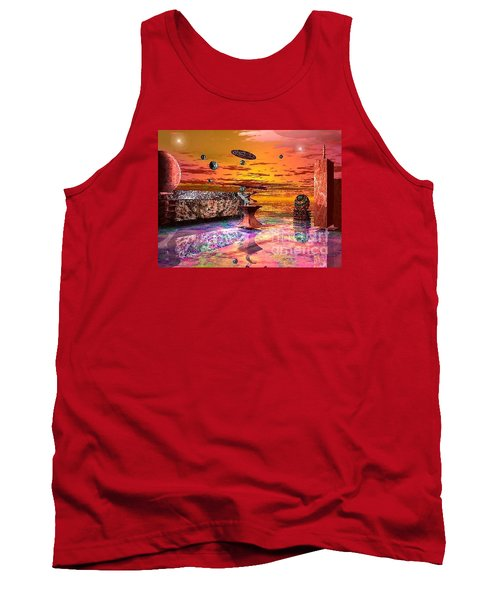 Tank Top featuring the digital art Future Horizions Firey Sunset by Jacqueline Lloyd