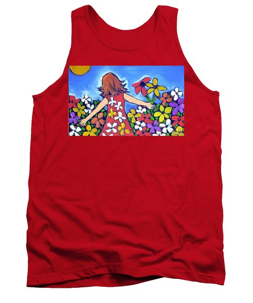 Tank Top featuring the painting Garden Of Joy by Winsome Gunning