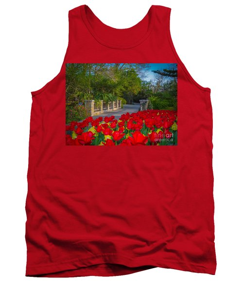 Garden Tulips Along The Trail Tank Top by John Roberts
