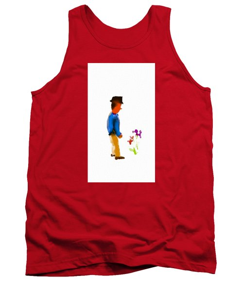 Gentleman Stops To Smell The Flowers Tank Top by Frank Bright