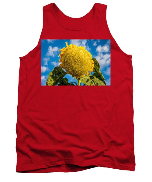 Giant Sunflower Against A Blue Sky With Clouds. Tank Top by John Brink