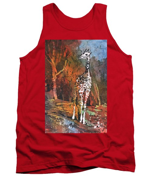 Tank Top featuring the painting Giraffe Batik II by Ryan Fox