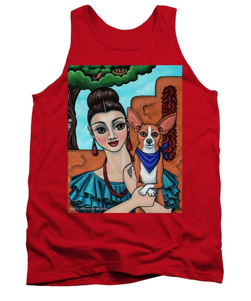 Girl Holding Chihuahua Art Dog Painting  Tank Top