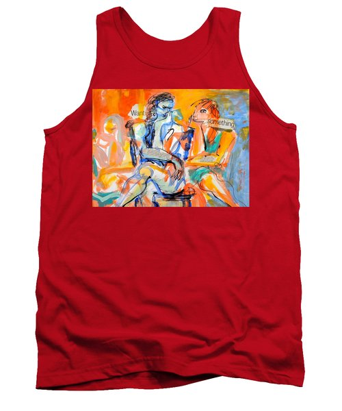 Tank Top featuring the painting Girl Talk by Mary Schiros