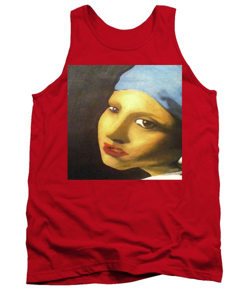 Tank Top featuring the painting Girl With Pearl Earring Face by Jayvon Thomas