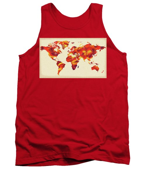 Global Warming Watercolor Map Of The World Tank Top