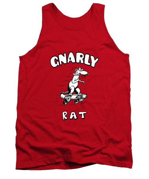 Tank Top featuring the drawing Gnarly Rat by Kim Gauge