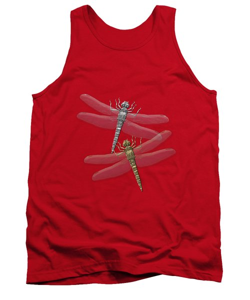 Tank Top featuring the digital art Gold And Silver Dragonflies On Red Canvas by Serge Averbukh