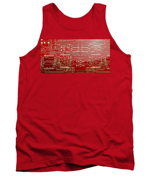 Gold Circuitry On Red Tank Top