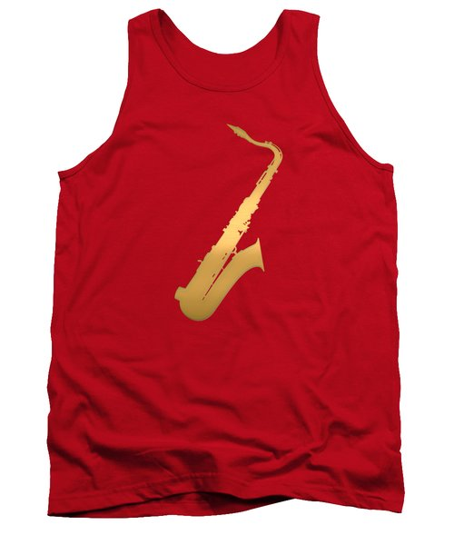Gold Embossed Saxophone On Red Background Tank Top