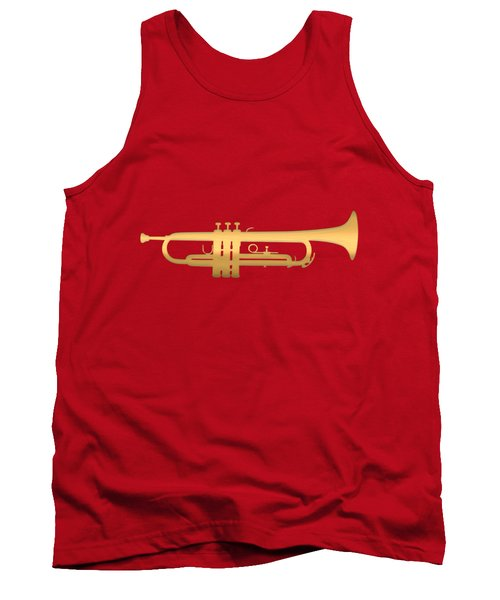 Gold Embossed Trumpet On Dark Red Background Tank Top