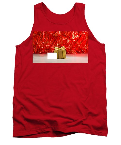 Tank Top featuring the photograph Gold Present With Place Card  by Ulrich Schade