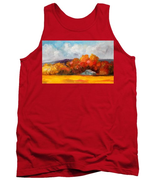 Golden Autumn Blue Country Horse Barn Tank Top by Michele Carter
