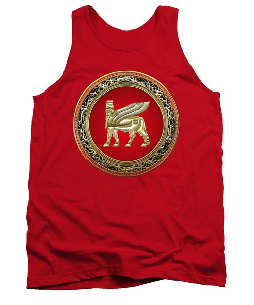 Golden Babylonian Winged Bull  Tank Top by Serge Averbukh