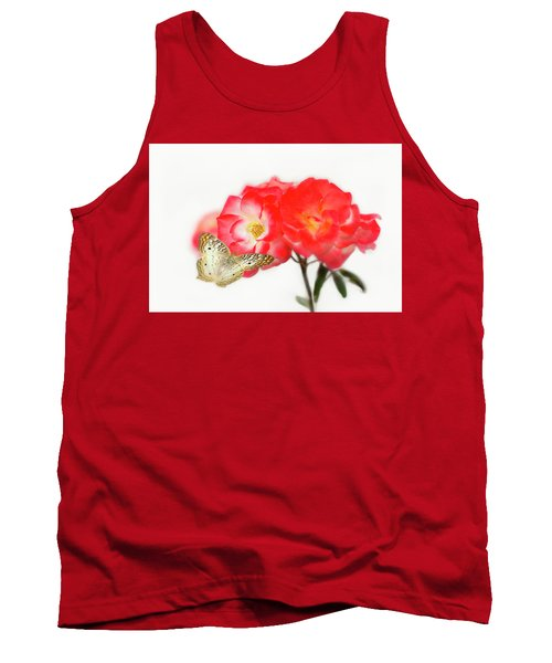 Golden Butterfly On Roses Tank Top