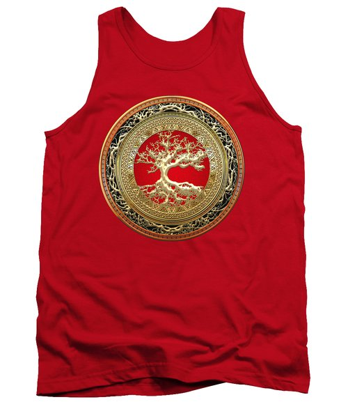 Golden Celtic Tree Of Life  Tank Top by Serge Averbukh