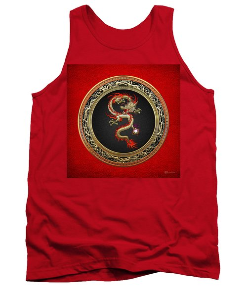 Golden Chinese Dragon Fucanglong On Red Leather  Tank Top by Serge Averbukh