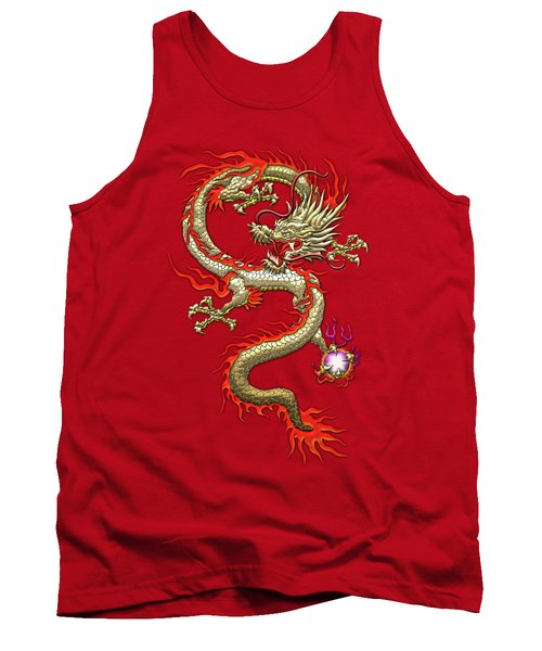 Golden Chinese Dragon Fucanglong On Red Silk Tank Top