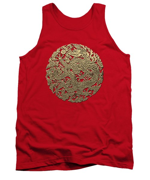 Golden Chinese Dragon On Red Leather Tank Top by Serge Averbukh