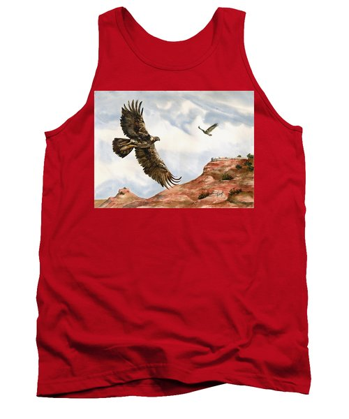 Golden Eagles In Fligh Tank Top by Sam Sidders
