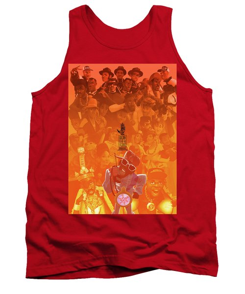 Tank Top featuring the digital art Golden Era Icons Collage 1 by Nelson dedos Garcia
