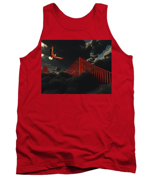 Golden Gate Bridge In Heavy Fog Clouds With Eagle Tank Top