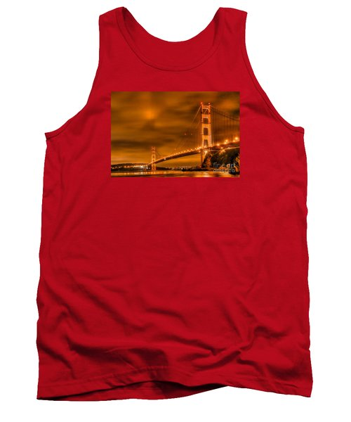 Tank Top featuring the photograph Golden Gate Bridge - Nightside by Jim Carrell