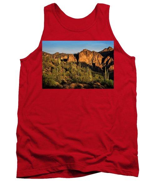 Tank Top featuring the photograph Golden Hour On Saguaro Hill  by Saija Lehtonen